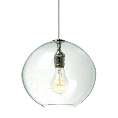 1-Light Globe Pendant Finish: Satin Nickel, Shade Color: Clear