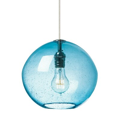1-Light Globe Pendant Finish: Satin Nickel, Shade Color: Aqua