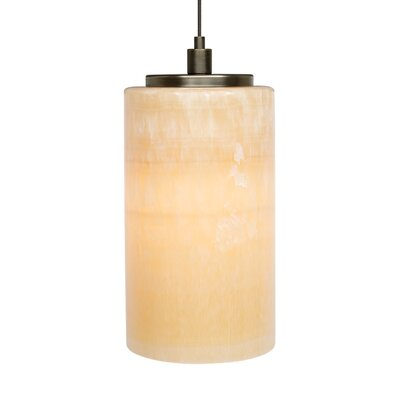 Barnesville Onyx Cylinder 1-Light Mini Pendant Base Color: Bronze