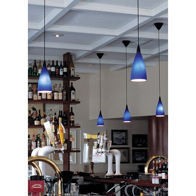 Vela Drop Line-Voltage 1-Light Mini Pendant Finish: Black, Shade Color: Blue