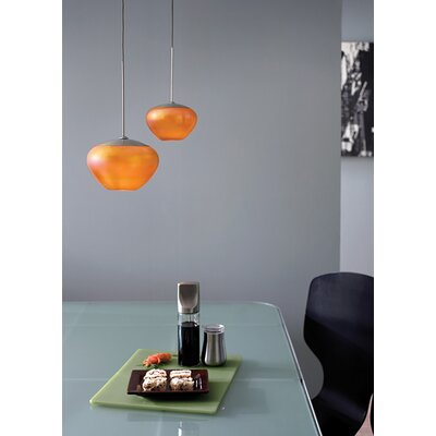 Fennell 1-Light Mini Pendant Finish: Satin Nickel, Shade Color: Amber
