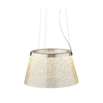 Duke 1-Light Pendant Finish: Satin Nickel, Color: Clear With Silver Mica