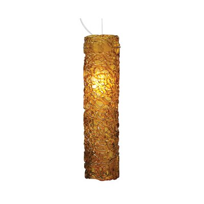 Isis 1-Light Mini Pendant Shade Color: Amber, Finish: Satin Nickel, Bulb type: Fluorescent