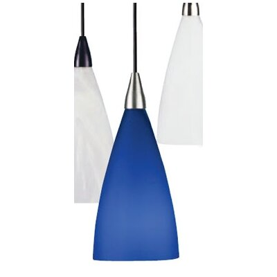 Drop French Vianne 1-Light Pendant Fixture Type: Compact Flourescent, Color: Blue, Finish: Satin Nickel