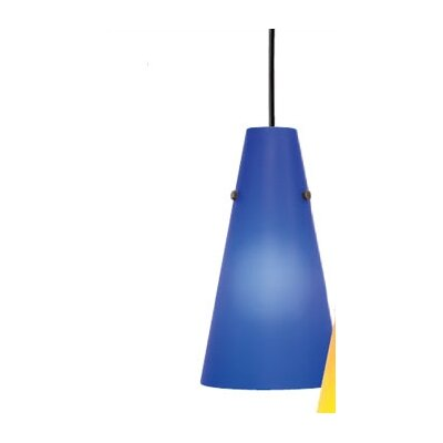 Kona II 1-Light Pendant Shade Color: Blue, Finish: Satin Nickel
