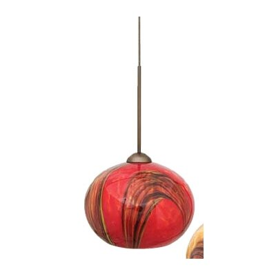 Hersey 1-Light Mini Pendant Finish: Bronze, Shade Color: Red, Bulb Type: Xenon