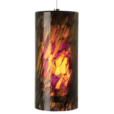 Heidrick 1-Light Pendant Shade Color: Blue/Amber/Red, Finish: Bronze