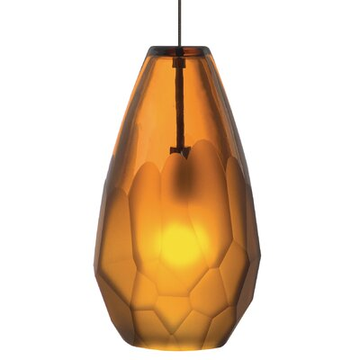 Briolette 1-Light Pendant Shade Color: Amber, Mounting Type: Monopoint, Finish: Bronze