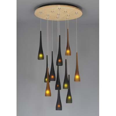 Fusion Jack Eleven Port Wood Round Canopy in Bronze Shade Color: Walnut