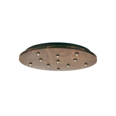 Fusion Jack Eleven Port Wood Round LED Canopy in Satin Nickel Shade Color: Walnut