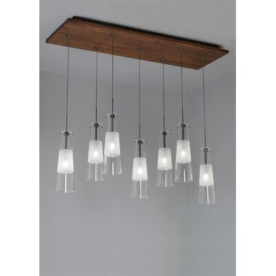 Fusion Jack Seven Port Wood Rectangle Canopy in Bronze Shade Color: Walnut