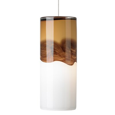 Oyer 1-Light Mini Pendant Shade Color: Beige-Dark Brown, Mounting Type: Fusion Jack, Finish: Satin Nickel