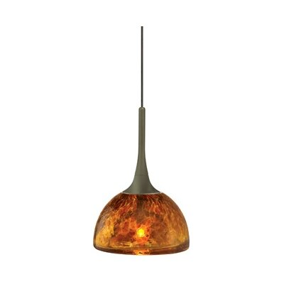 Sophia 1-Light Mini Pendant Shade Color: Amber, Finish: Bronze, Mounting Type: Canopy/Transformer Mini Pendant