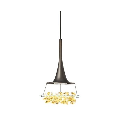 Vision 1-Light Mini Pendant Finish: Bronze, Color: Amber, Mounting Type: Monopoint Mini Pendant