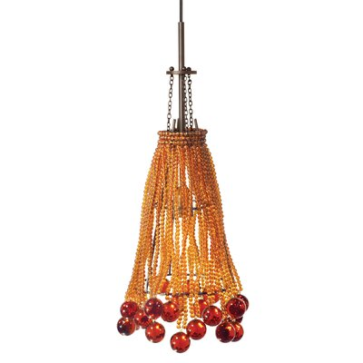 Chambers 1 Light Mini Pendant Shade Color: Amber, Finish: Bronze, Bulb Type: Pendant with Canopy/Transformer