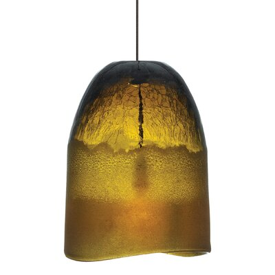 1-Light Pendant Shade Color: Amber, Mounting Type: Monorail, Finish: Bronze