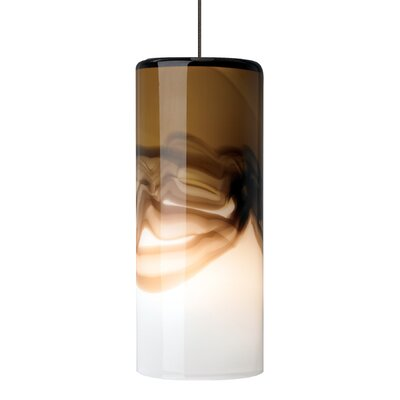 Oyer 1-Light Mini Pendant Shade Color: Brown-Gray, Mounting Type: Fusion Jack, Finish: Bronze