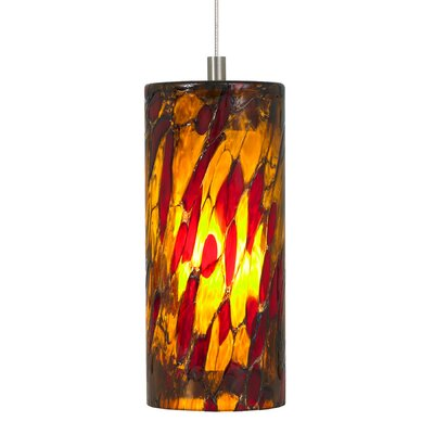 Heidrick 1-Light Pendant Shade Color: Amber Red, Finish / Mounting / Bulb: Satin Nickel / Fusion Jack / LED