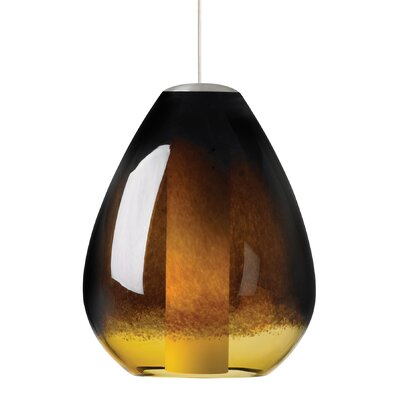 Sora 1-Light Pendant Shade Color: Ivory-Brown, Finish: Bronze, Bulb Type: Incandescent