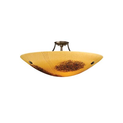 Veneto 3 Light Inverted Pendant Shade Color: Amber, Finish: Satin Nickel, Bulb Type: Fluorescent