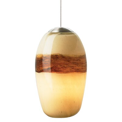 Emi 1-Light Mini Pendant Finish: Satin Nickel, Shade Color: Ivory-Brown, Mounting Type: LED - Fusion Jack Mini Pendant