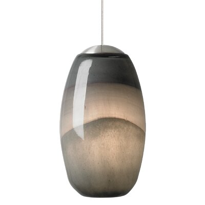 Emi 1-Light Mini Pendant Shade Color: Gray-Dark Purple, Finish: Satin Nickel, Mounting Type: Fusion Jack Mini Pendant