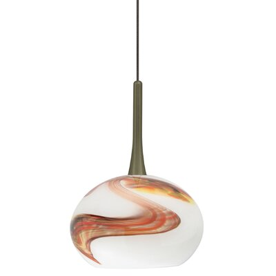 Hersey 1-Light Mini Pendant Finish: Bronze, Shade Color: Opal, Bulb Type: Xenon