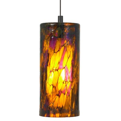 Abbey 1-Light Pendant Shade Color: Amber Purple, Finish / Mounting / Bulb: Bronze / Fusion Jack / LED