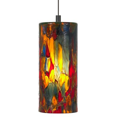 Abbey 1-Light Pendant Shade Color: Blue Amber Red, Finish / Mounting / Bulb: Satin Nickel / Pendant Only