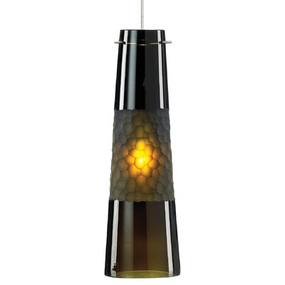 Bonn 1-Light Pendant Shade Color: Green, Finish / Mounting / Bulb: Satin Nickel / Fusion Jack / LED