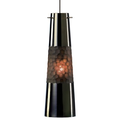 Bonn 1-Light Pendant Shade Color: Brown, Finish / Mounting / Bulb: Satin Nickel / Fusion Jack / LED
