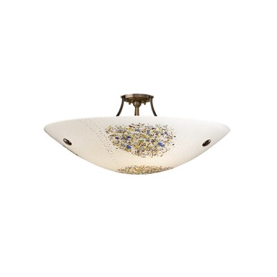 Veneto 3 Light Inverted Pendant Shade Color: Opal, Finish: Bronze, Bulb Type: Incandescent