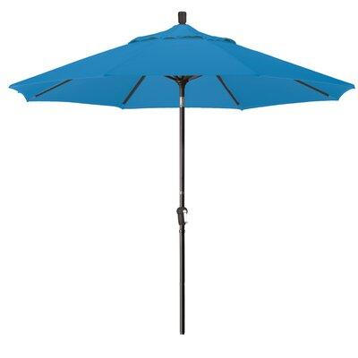 9 Market Round Canopy Umbrella Fabric: Pacific Blue, Frame Finish: Bronze