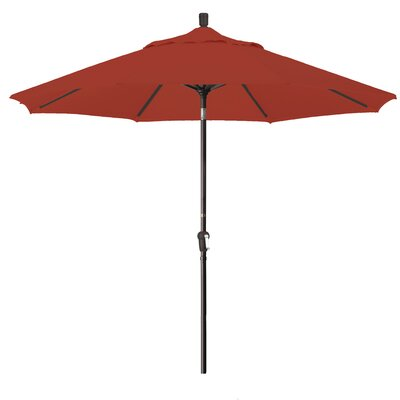 9 Market Round Canopy Umbrella Fabric: Red, Frame Finish: Bronze