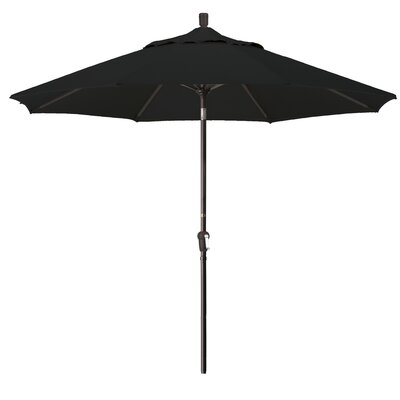 9 Market Round Canopy Umbrella Fabric: Black, Frame Finish: Bronze