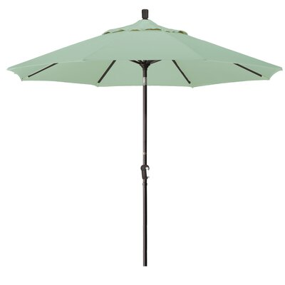9 Market Round Canopy Umbrella Fabric: Spa, Frame Finish: Bronze