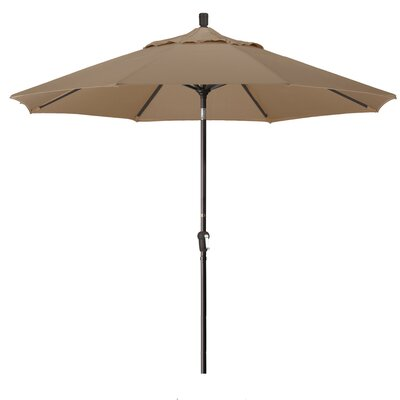 9 Market Round Canopy Umbrella Fabric: Straw, Frame Finish: Bronze