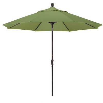 9 Market Round Canopy Umbrella Fabric: Palm, Frame Finish: Bronze