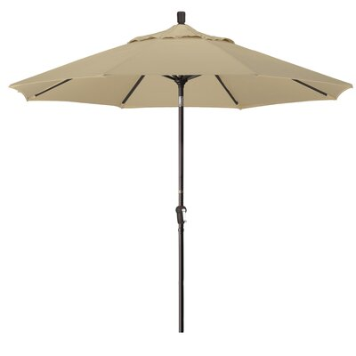 9 Market Round Canopy Umbrella Fabric: Sunbrella - Spectrum Dove, Frame Finish: Champagne
