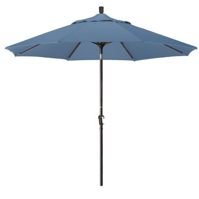 9 Market Round Canopy Umbrella Fabric: Sapphire, Frame Finish: Bronze
