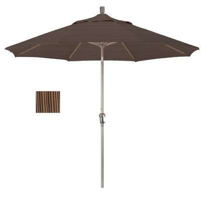 9' Crank Lift Umbrella Fabric: Terrace Sequoia, Frame Finish: Champagne SDAU908900-FD10