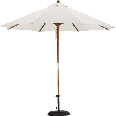 9' Wood Pulley Open Market Umbrella Fabric: Polyester Natural SOW908-P10