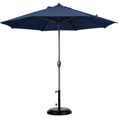9 Market Umbrella Fabric: Olefin - Navy Blue, Frame Finish: Bronze