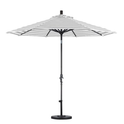 9 Market Umbrella Color: Gray White Cabana Stripe, Frame Finish: Matte Black