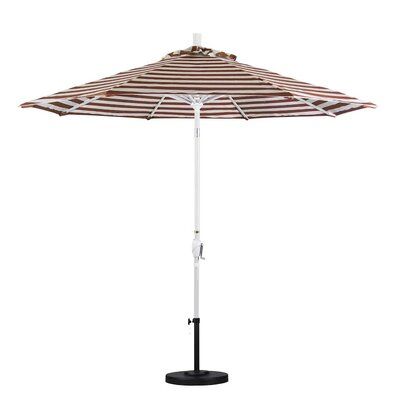 9 Market Umbrella Frame Finish: Matte White, Color: Brick White Cabana Stripe