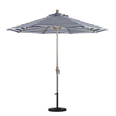 9 Market Umbrella Color: Navy White Cabana Stripe, Frame Finish: Sand