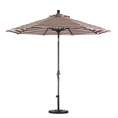 9 Market Umbrella Color: Brick White Cabana Stripe, Frame Finish: Matte Black