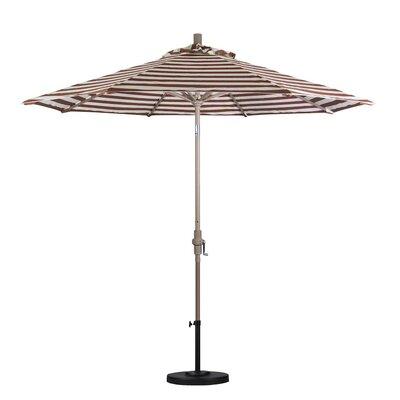 9 Market Umbrella Color: Brick White Cabana Stripe, Frame Finish: Sand