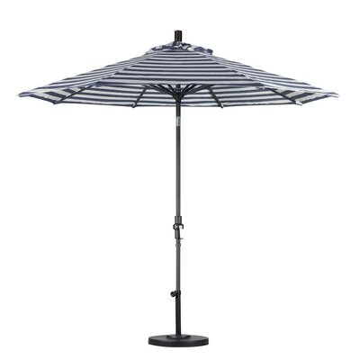 9 Market Umbrella Color: Navy White Cabana Stripe, Frame Finish: Matte Black