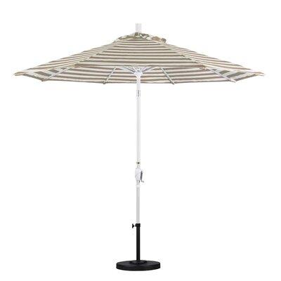 9 Market Umbrella Frame Finish: Matte White, Color: Beige White Cabana Stripe